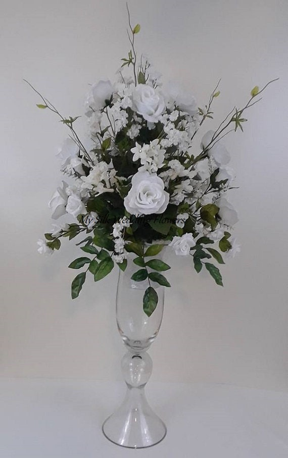 Tall white roses crystals wedding silk flower floral etsy tall white roses crystals wedding silk flower floral arrangement centerpiece home decor church mightylinksfo
