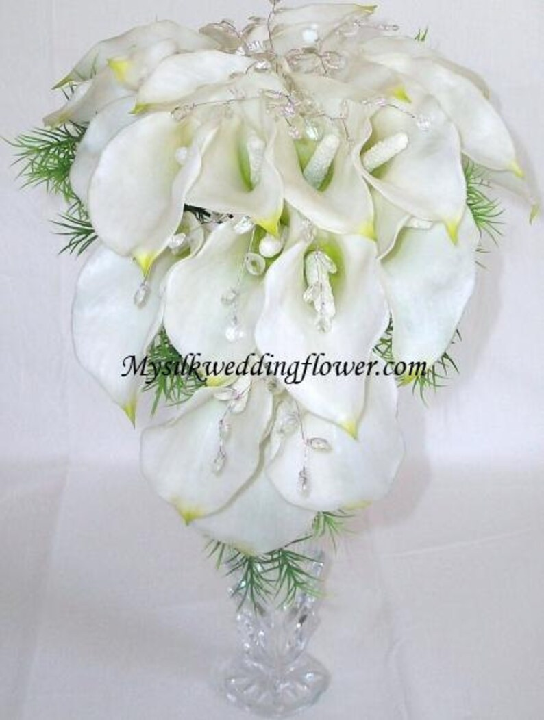 Tear Drop Real Touch Calla Lily Wedding Crystal Bridal Bouquet Cascading