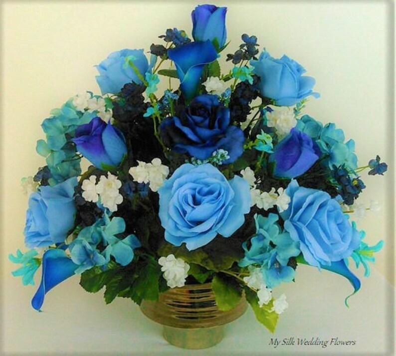 Fine Blue Royal Blue Roses Calla Lilies Hydrangeas Silk Flower Floral Arrangement Centerpiece Download Free Architecture Designs Scobabritishbridgeorg