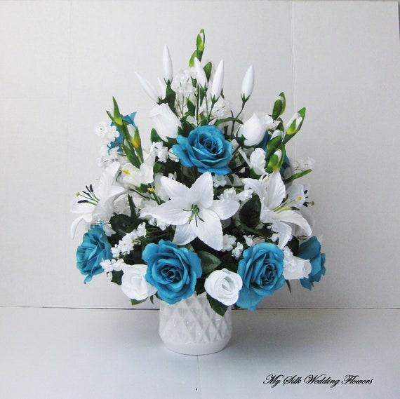 Tall Silk Flower Arrangement Turquoise Roses Flower Etsy
