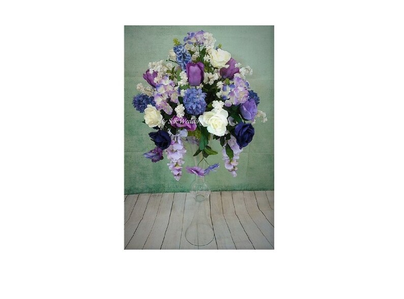 Tall Silk Wedding Flower Arrangement Purple Lavender Etsy