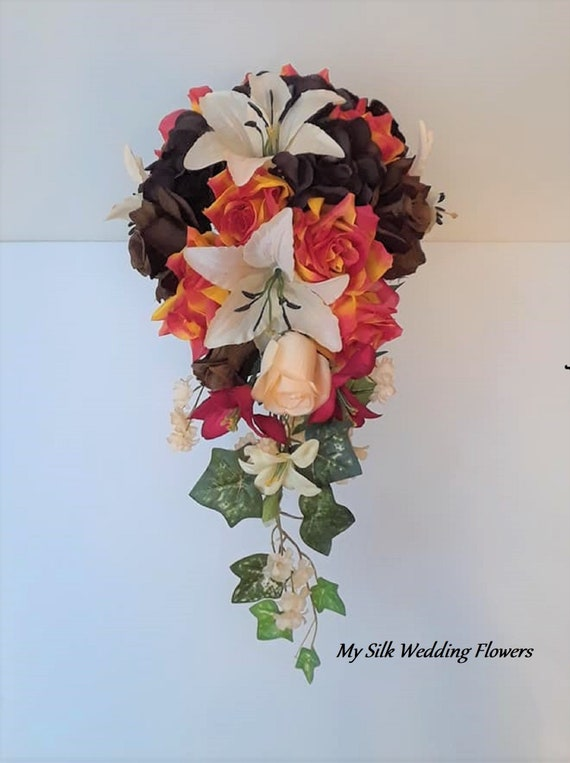 Red Orange Brown Champagne Roses Tiger Lilies Silk Etsy
