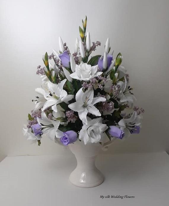 Tall Arrangement Mix Flower Arrangement Lavender Roses Etsy
