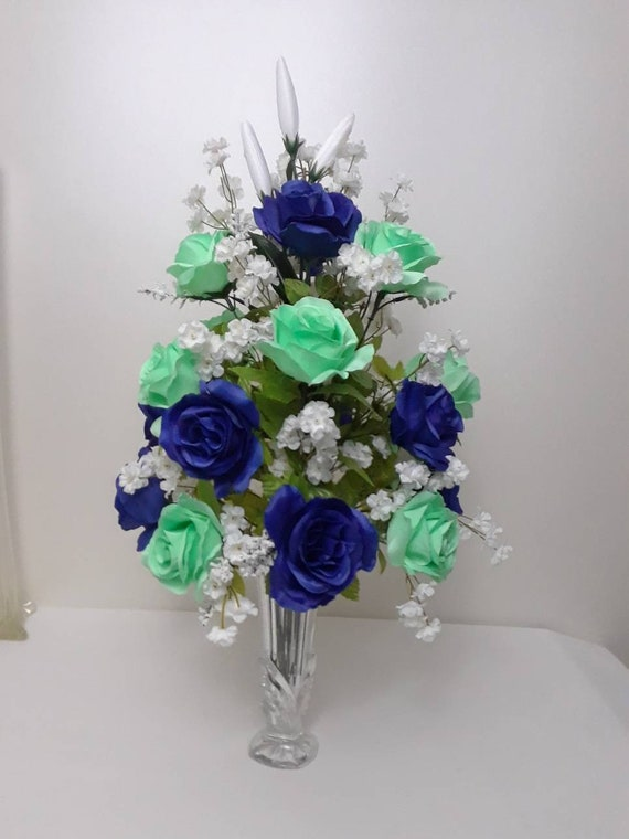 Tall royal blue mint green roses eiffel tower white   Etsy