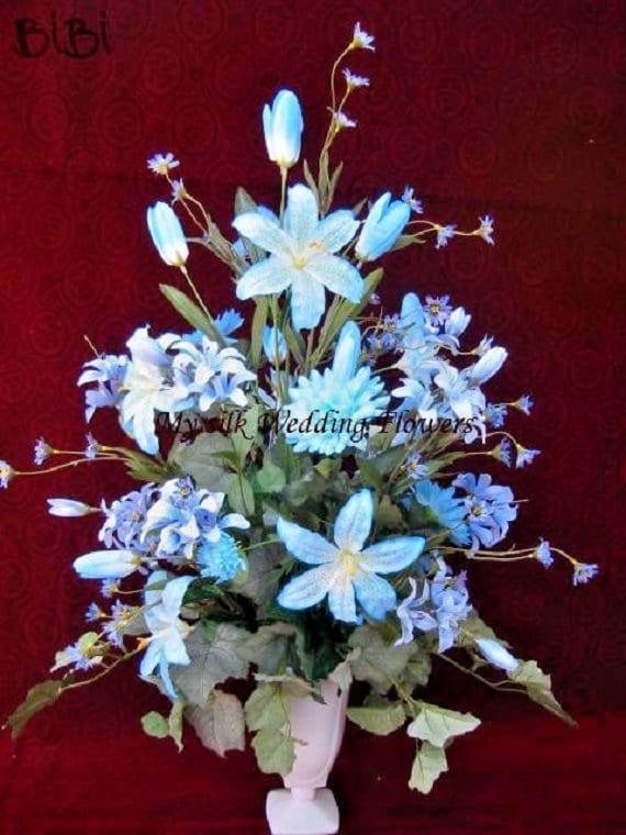 Tall Wedding Arrangement Home Decor Blue Lilies Daisies Etsy