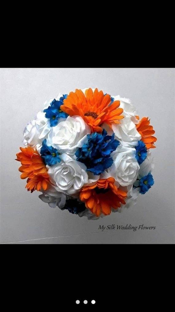wedding blue forget me not bridesmaid orange daisies silk White roses bouquet bridal toss.
