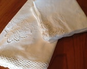 Stunning Large Round White Cotton Tablecloth, 8 Matching Dinner Napkins - Madeira Cutwork, Crochet-Edging - 115cm (45 quot ) in diameter