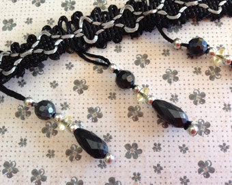 20cm Length Black Beaded Trim