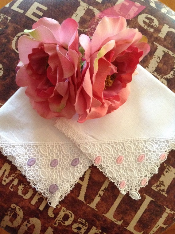 Sweet Pink Hankie with White Trim and Looped Design