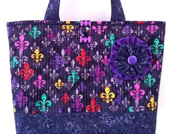 "NEW ""deLis Delight"" - Big Large Colorful Beach Bag Market Tote Everyday Purse Bright Fleur de Lis on Black Mardi Gras Quilted Handbag"