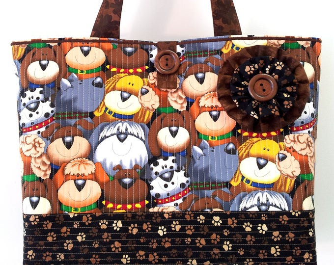 "Featured listing image: NEW ""Haute Dogs"" - Large Beach Bag Market Tote Everyday Purse -  Brown Tan Cotton Cloth Quilted Fabric Handbag for Dog Lovers by Calico Caps"