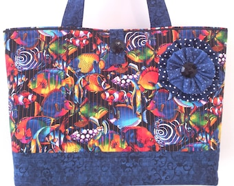 Nuclear Fishin - Big Large Colorful Beach Bag Market Tote Shopper Everyday Purse - Bright Tropical Fish w/ Black Indigo Navy Quilted Handbag