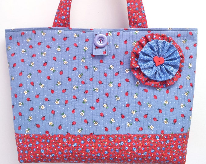 Featured listing image: Ladybug Blue - Large Beach Bag Market Tote Shopper Everyday Purse - Pretty Red White and Blue Calico Print Quilted Handbag by Calico Caps®