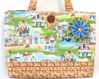 Summer Times - Large Beach Bag Market Tote Quilted Handbag - Scenic Beachy Nostalgic Seaside Cottage Life print fabric Purse by Calico Caps®