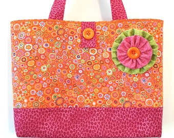 Tangerine Dream - Big Quilted BEACH BAG Orange Pink & Green - Made with Kaffe Fassett Paperweight Print and Hot Pink Leopard by Calico Caps®