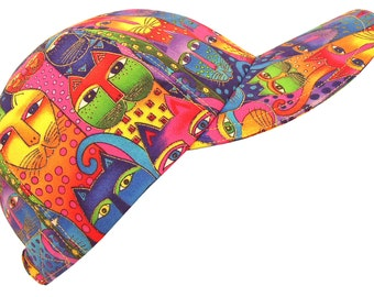 Kaleidoscope Cats - Ladies Womens Colorful Baseball Ball Cap Bright Rainbow Feline Cat Eyes Polka Dot Print Hat by Calico Caps® - LAST ONE!