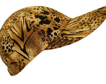 The Aristocat - Ladies Womens Baseball Ball Cap Leopard Spots & Tiger Stripe cotton cloth animal skin print Fall Fashion Hat by Calico Caps®