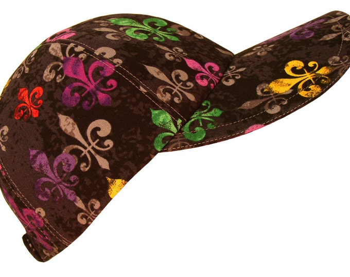 Featured listing image: deLis Delight - Bright multi-color Fleur de Lis Ladies Mardi Gras Baseball Ball Cap Purple Green Gold on Black Fashion Hat by Calico Caps®