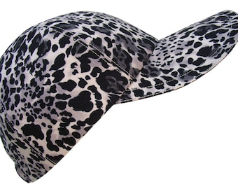 Alpha Cat - Black White Silver Grey Ladies Baseball Ball Cap Gray Snow Leopard Jaguar Classic animal skin print Fashion Hat by Calico Caps®