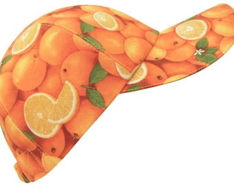 Fresh From Florida - Allover Oranges Print Baseball Ball Cap Hat - Whole Fruit Yellow Slices Orange Blossoms & Green Leaves by Calico Caps®