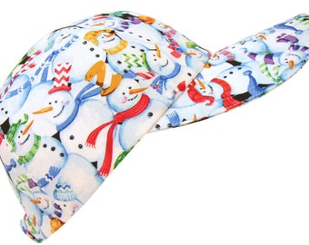 Snow Day! - Snowman Print Baseball Ball Cap Ladies Womens Fun Winter Fashion Sports Hat with snowmen in top hats and scarves by Calico Caps®