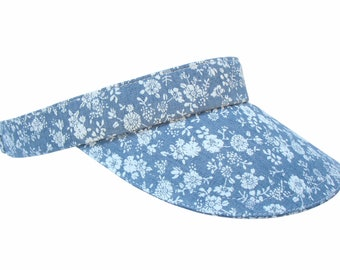 NEW - Denim Daisies - Blue & White Calico SUN VISOR Wildflowers Flowers Retro Floral Print 100% Cotton Sports Fashion Hat by Calico Caps®