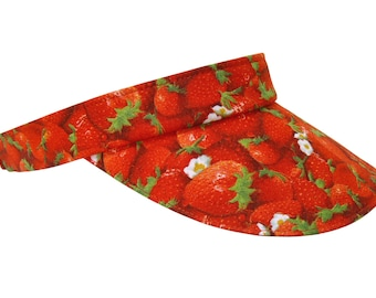 Summer Sweets - Ladies Sun VISOR - Bright Red Strawberries & Flowers Ladies Women Fruit Print Cool Winter Spring Holiday Hat by Calico Caps®