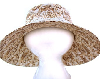 Cocoa & Lace - The look of lace in a taupe tan beige cotton cloth print Ladies Womens Wide Brim Bucket Floppy Fashion Sun Hat by Calico Caps