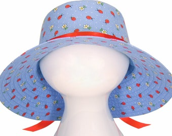 Ladybug Blue - Ladies Wide Brim Floppy Sun Bucket Hat - Red Lady Bugs and White Daisies on Chambray Cornflower Blue Cute Hat by Calico Caps®