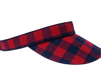 NEW - It's A Plaid, Plaid World - Red & Black Buffalo Check Print SUN Visor - Warm Soft Cotton Flannel Winter Sports Hat by Calico Caps®