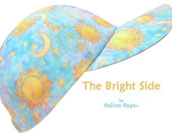 The Bright Side - OSFM Sun Crescent Moon Stars Baseball Ball Cap Blue Yellow Celestial Print Dream Believe Smile Shine Laugh by Calico Caps®