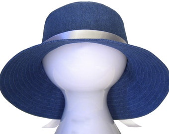 Denim Days - Classic Blue Jean Wide Brim Floppy Bucket Hat Sun Casual Summer Fashion with White Satin Sash - Handmade in USA by Calico Caps