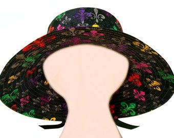 "SALE - ""deLis Delight"" - Ladies Womens Floppy Sun Hat - Bright multi-color Fleur de Lis on Black Mardi Gras Fashion Wide Brim by Calico Caps"