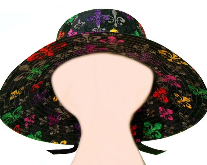 """Featured listing image: SALE - """"deLis Delight"""" - Ladies Womens Floppy Sun Hat - Bright multi-color Fleur de Lis on Black Mardi Gras Fashion Wide Brim by Calico Caps"""