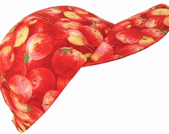 An Apple A Day - Bright Red Fruit Print Ladies Womens Adult Baseball Ball Cap Fresh Fun Spring Summer Natural Fashion Hat by Calico Caps®
