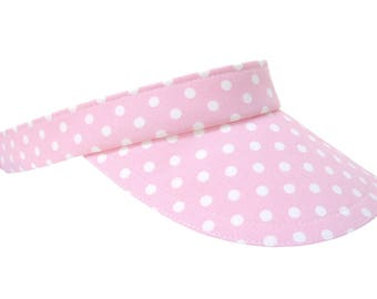 Sweet Chapeau - Womens Sun VISOR - Ladies Pink & White Polka Dot Cute Pretty Spring Summer Fashion Hat by Calico Caps - Small Medium Large