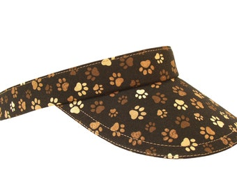 NEW - Pawsitivity - Ladies Womens Adult SUN Visor - Cotton Paw Print Dog Cat Animal Theme Earthtone Brown Tan Paws on Black by Calico Caps®