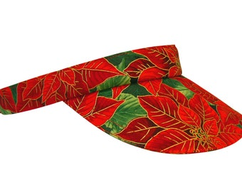 Winter Garden - Red Green Gold Poinsettia SUN Golf Visor Fancy Christmas Theme Holiday Motif Cotton Sports Fashion Hat by Calico Caps®