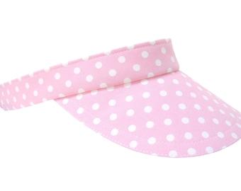Sweet Chapeau - Pink White Polka Dots Print SUN Visor Cute Pretty Pastel Ladies Women Adult Spring Summer Sports Fashion Hat by Calico Caps®