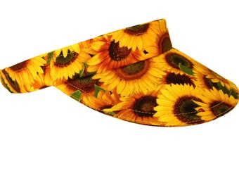 Shine On - Bright Marigold Yellow Sun VISOR Flowers Sunflowers & Red Ladybugs - Ladies Womens Summer Fall Floral Fashion Hat by Calico Caps®