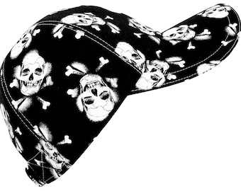 Skull & Bone - LARGE - Black White Skull Crossbone Print Baseball Cap Ladies Women Men Adult Day of the Dead Biker Hat by Calico Caps®