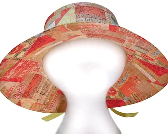 The Art Of Tea - Wide Brim Bucket Floppy Sun Hat - Tea Connoissuer Collector Labels Collage Tan Taupe Yellow Pink Red Roses and Fleur de Lis