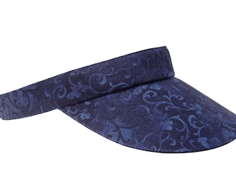 NEW - Indigo Swirl - Navy Midnight Blue Indigo & Black Florentine Scroll Print SUN Visor Ladies Womens Sports Fashion Hat by Calico Caps®