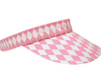 Pink Diamonds - Cool Pink White Ladies Womens Sports Fashion Sun Visor by Calico Caps Harlequin Argyle Cotton Print Tennis Golf SMALL/Medium