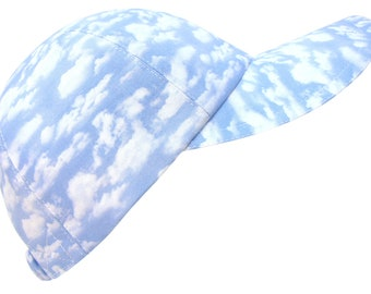 Daydreams - Powder Blue Sky White Clouds Ladies Womens Baseball Ball Cap Summer Sports Beach Beachy Golf Tennis Fashion Hat by Calico Caps®