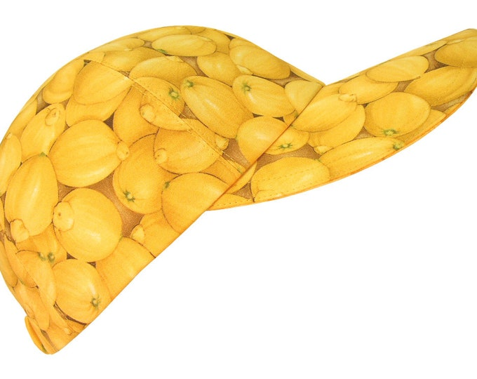 Featured listing image: Lemon Zinger - OSFMost - Bright Yellow Lemons Ladies Adult Baseball Ball Cap Fun Citrus Fruit Summer Party Fashion Hat by Calico Caps®