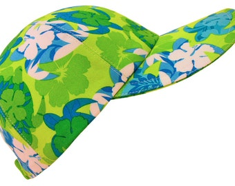 Turtle Bay - Tropical Print Baseball Ball Cap Sea Life Hibiscus Flowers Sealife Floral Blue Lime Green White Fun Fashion Hat by Calico Caps®
