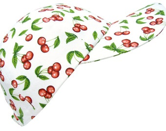 Cherry Lane - LARGE - Bright Red Cherries, Green Leaves on White Ladies Womens Baseball Ball Cap Fun Fruit Fashion Hat by Calico Caps®