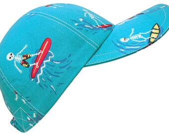 Skeleton Bay - Surfing Skeletons on Turquoise Blue Cotton Print Baseball Ball Cap Ladies Womens Mens Hat by Calico Caps® - Limited Edition