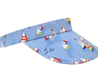 La Vida Regatta - Sky Blue Sailing SUN VISOR with Red Yellow White Sailboats & Seagulls Water Sports Beach Fashion Hat by Calico Caps®